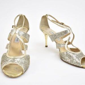 Jimmy Choo Pale Gold Leather & Glitter Heels